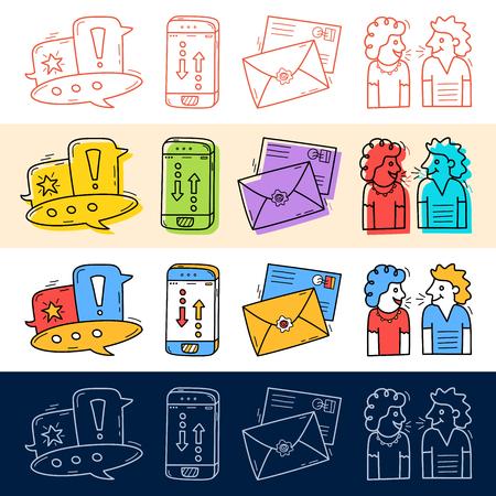 Disegna a mano chat, parlare, telefono, icona della posta impostata in stile doodle per il tuo design. Vettoriali