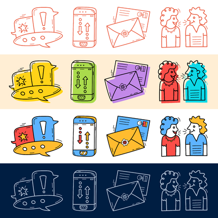 Hand draw chat, talk, phone, mail icon set in doodle style for your design. Vector Illustratie