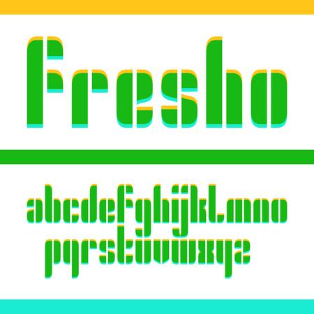 Vector condensed original fresh bold display font design, alphabet, lowercase character set. Easy swatch color control Ilustración de vector