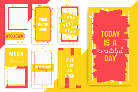 Set of 7 Bright editable template for Stories and Streams. Trendy red and yellow color. Vector illustration
