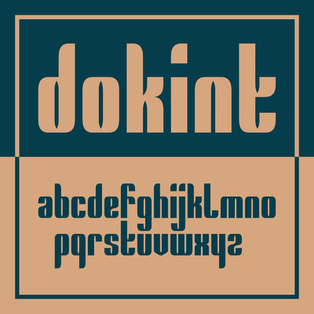 Vector condensed original bold display font design, alphabet, lowercase character set. Easy swatch color control Иллюстрация