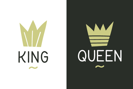 King queen inspirational quote - Vector illustration design for t shirt graphics, fashion prints, slogan tees, stickers, cards, posters and other creative uses