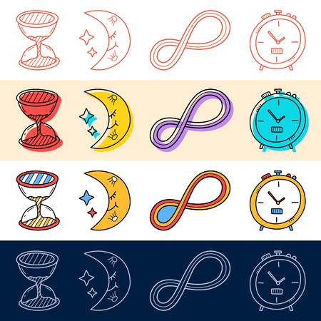 Hand draw sand clock, moon, endless icon set in doodle style for your design. Illustration