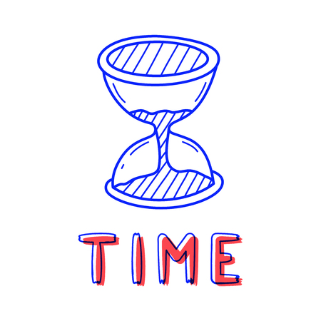 Hand draw sand clock icon in doodle style for your design with lettering. Çizim