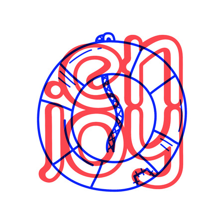 Hand draw Lifebuoy icon in doodle style for your design with lettering. Illustration