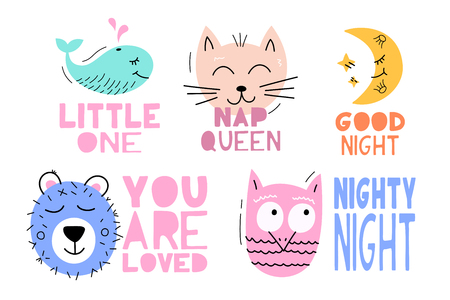 Set Cute vector animal with lettering baby phrase - illustration cut out from actual paper. Scrapbook element. Art poster for nursery or kids room poster Illustration