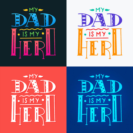 Set Dad super hero doodle quote in Handwritten style. Love Daddy lettering phrase