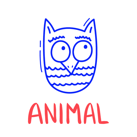 Colorful doodle owl in trendy style. Little animal sketch icon
