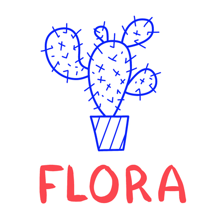 Hand draw cactus icon in doodle style for your design with lettering.