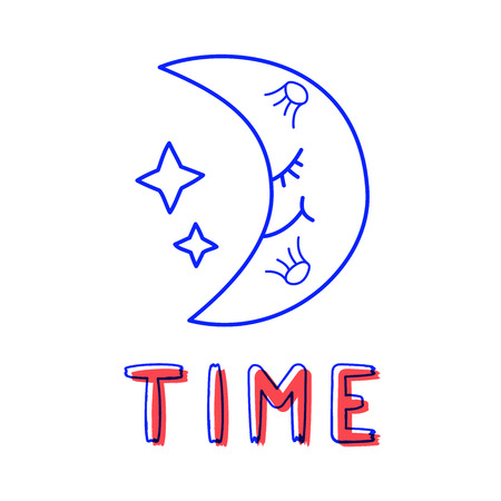 Hand draw moon icon in doodle style for your design with lettering.