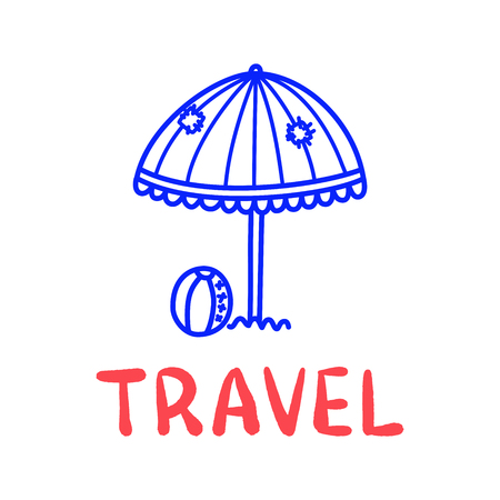 Cartoon travel sun umbrella doodle lettering for decoration design. Drawing text