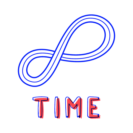 Hand draw endless time icon in doodle style for your design with lettering. Illustration