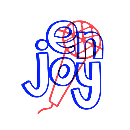 Beautiful enjoy sing doodle, great design for any purposes. Outline drawing. Illustration