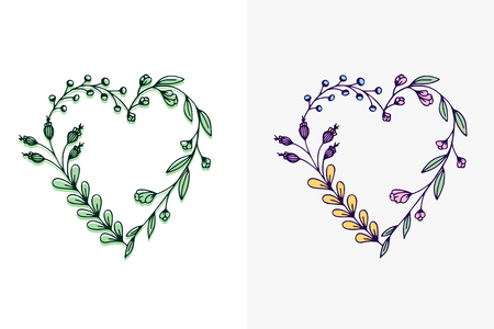 Set of hand drawn wreath hearts with stylized flowers - vector illustration design for t shirt graphics, fashion prints, slogan tees, stickers, cards, posters and other creative uses