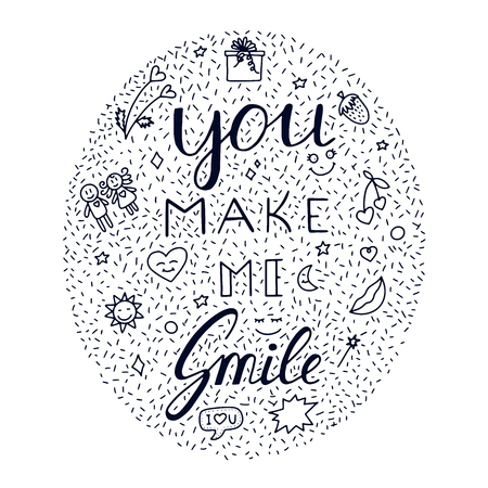 You make me smile Inspirational hand draw doodle lettering quote with crown and heart elements. Ilustração