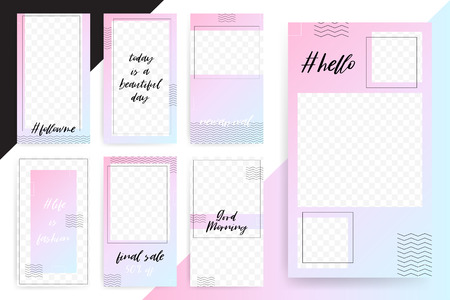 Set of 7 Bright editable template for Stories and Streams. Trendy pink blue fashion color. Vector illustration