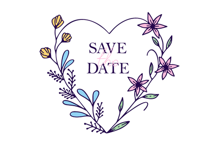 Save the date hand drawn hearts with stylized flowers - vector illustration design for t shirt graphics, fashion prints, slogan tees, stickers, cards, posters and other creative uses Ilustração