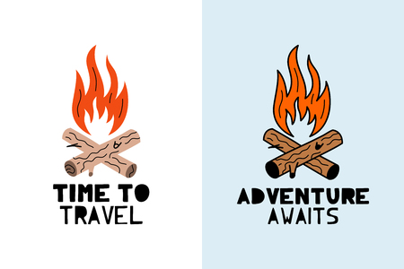 Cute vector bonfire with phrase travel and adventure - illustration cut out from actual paper. Scrapbook element. Art poster for nursery or kids room poster