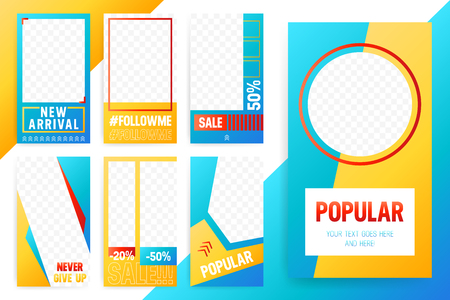 Set of 7 Bright editable template for Stories and Streams. Trendy sport style color. Vector illustration