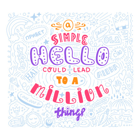 Lettering simple hello in different language doodle quote in sketch style. Hand draw beautiful phrase. Motivation concept