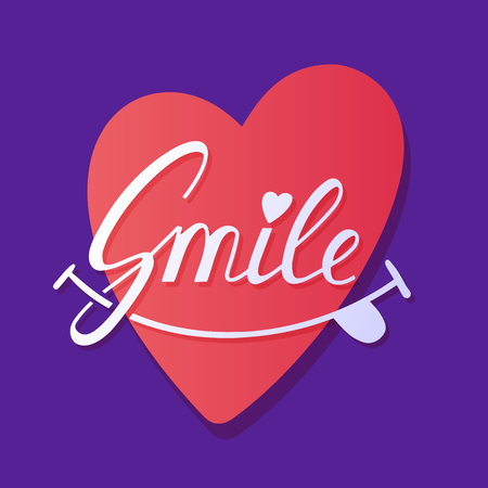 smile Inspirational hand draw lettering text with heart.