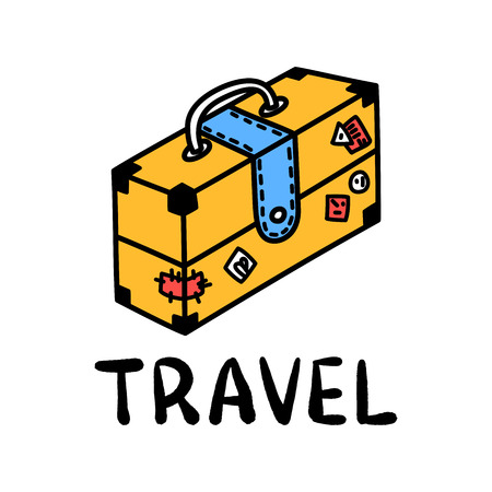 Cartoon travel suitcase doodle lettering for decoration design. Drawing text