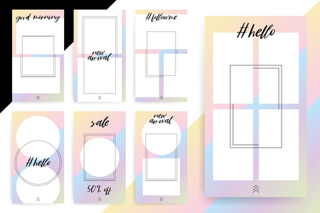 Set of 7 Bright editable template for Stories and Streams. Trendy fashion color. Vector illustration