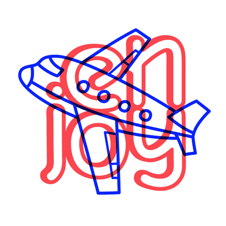 Cartoon travel plane doodle lettering enjoy for decoration design. Flying airplane, transportation. Drawing text
