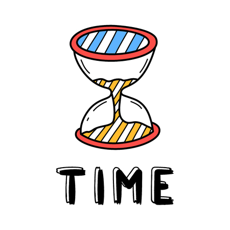 Hand draw sand clock icon in doodle style for your design with lettering. Ilustração