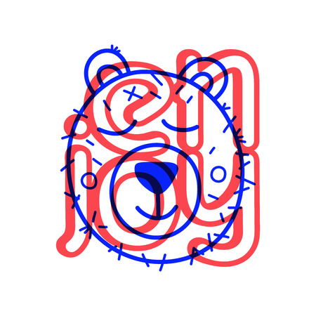 Colorful doodle bear in trendy style. Little animal sketch icon.