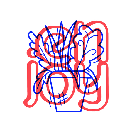 Hand draw flowerpot icon in doodle style for your design with lettering.