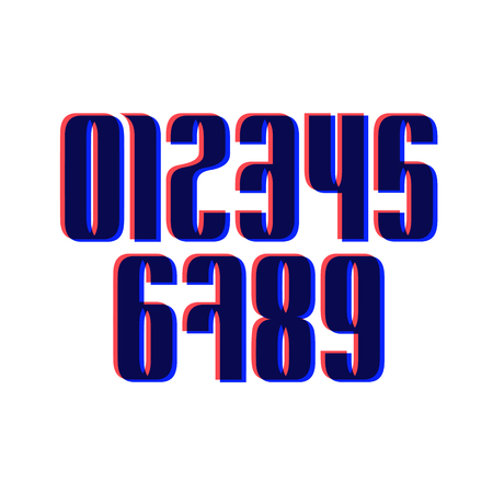 Zestaw dziesięciu liczb od zera do dziewięciu z efektem Glitch, liczba elementów projektu. Ilustracje wektorowe