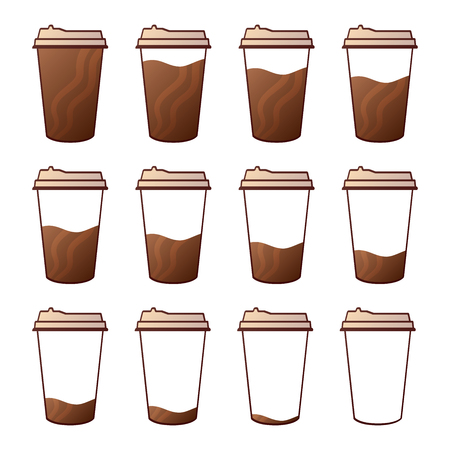 Isolated Set of 12 paper cups for coffee with a lid. Full to empty graduation cup of coffee.