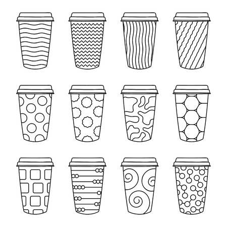 Isolated Set of 12 paper texture pattern cups for coffee with a lid. Made in cute doodle style in black