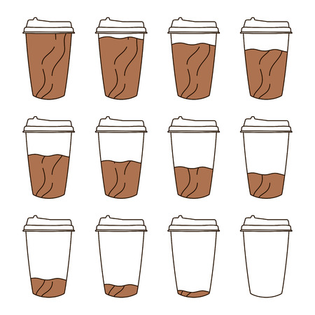 Isolated Set of 12 paper cups for coffee with a lid in doodle style. Full to empty graduation cup of coffee.