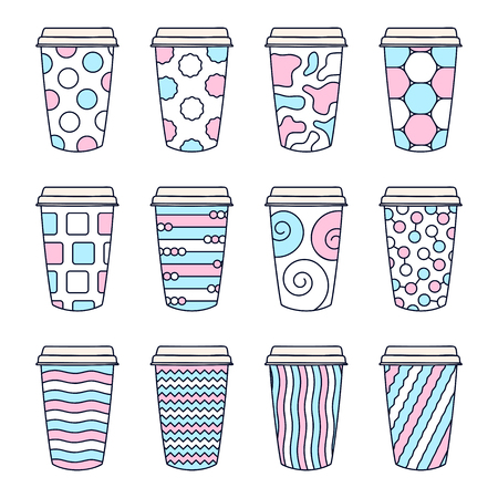 Isolated Set of 12 paper texture pattern cups for coffee with a lid. Made in cute doodle style with trendy colors. Illustration