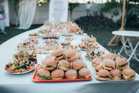 Wedding buffet with various snacks and burgers in nature.