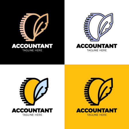 Coin symbol with feather sing. Money blog writer logo or accountant worker. Ilustração
