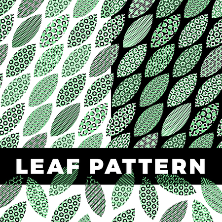 A set of seamless pattern of leaves that are filled with abstract technical patterns and objects. Concept technical background with fresh color apple leaves Ilustração