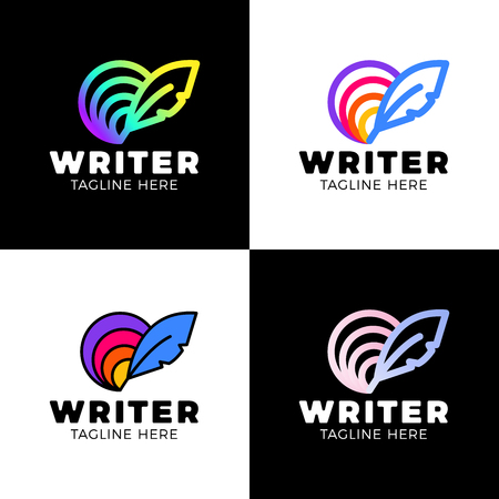 Feather circle rainbow Logo Template Design. Creative Vector Emblem for Icon or Design Concept.