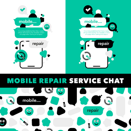 Concept Repair of mobile phones and Service electronic technic with abstract elements, icons and bubble chat. Illustration banner in modern style. Ilustração