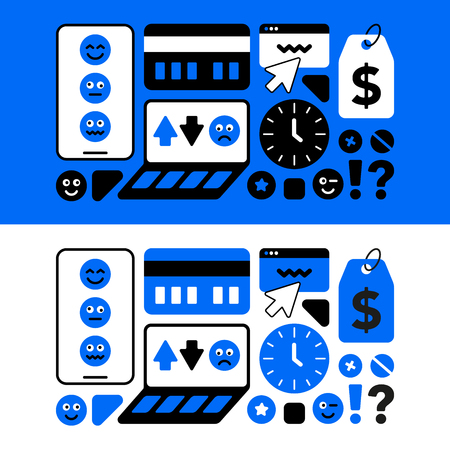 A set of thematic icons of the service center for the repair of mobile equipment. The concept of technical background of modern blue and black.