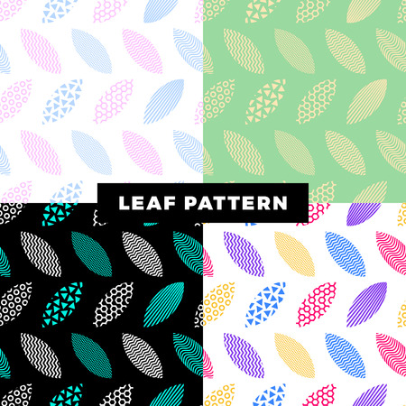 A set of seamless pattern of leaves that are filled with abstract technical patterns and objects. Concept technical background with fresh color apple leaves. Ilustração