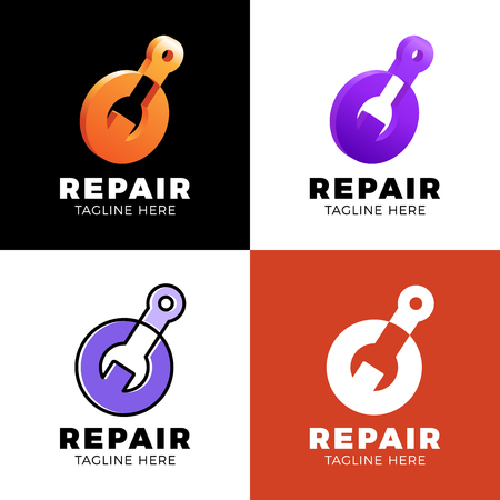 Set Logo design abstract repair vector template. Illustration design of logotype business spanner symbol. Vector web work tool icon.