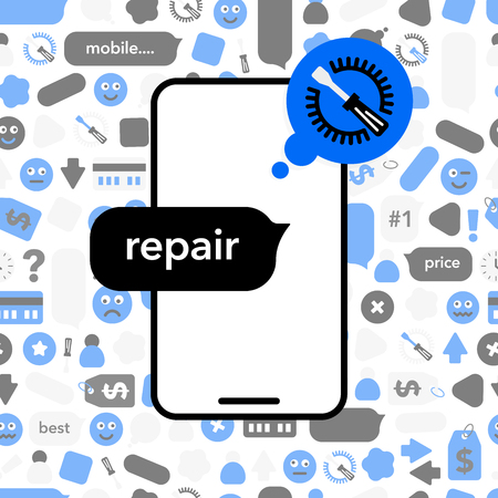 Concept Repair of mobile phones. Phone icon with abstract elements, icons and bubble chat. Illustration banner in modern style on pattern.