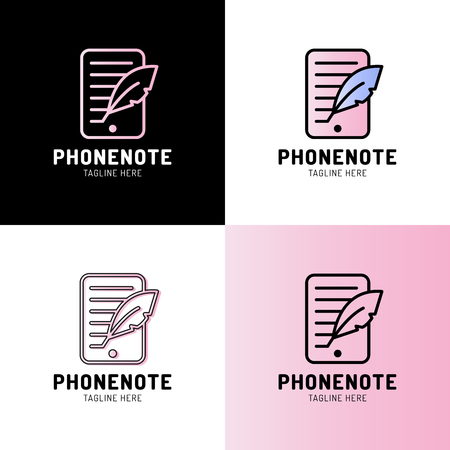 Smartphone with quill outline icon. linear style sign for mobile concept and web design. Blogging simple line vector logotype. Symbol, logo illustration.