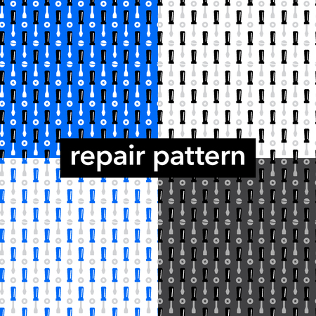 Set of seamless pattern of screwdrivers. Concept background for repair service.
