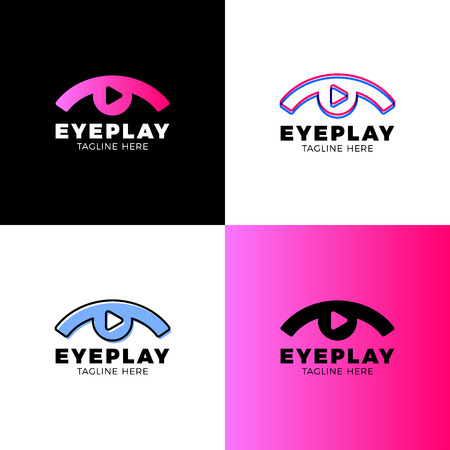 Eye video, media, music sound button and play icon vector logo. Movie film strips flat logo icon vector template. Symbol and button for cinema, television, service Ilustração