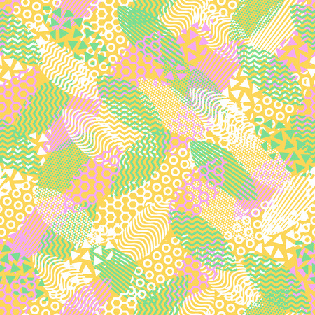 Colorful seamless pattern of leaves that are filled with abstract technical patterns and objects. Concept technical background with fresh color apple leaves. Ilustração
