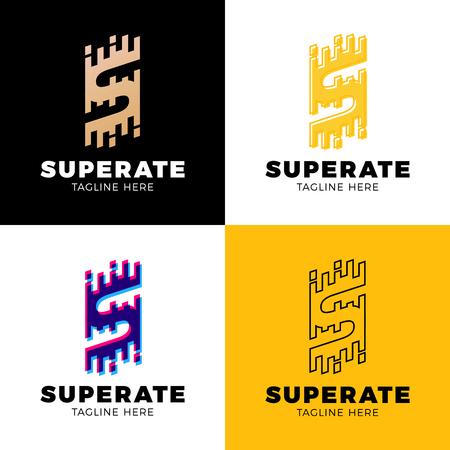 Set Super Rate Logo - Letter S Line Logotype orange color.